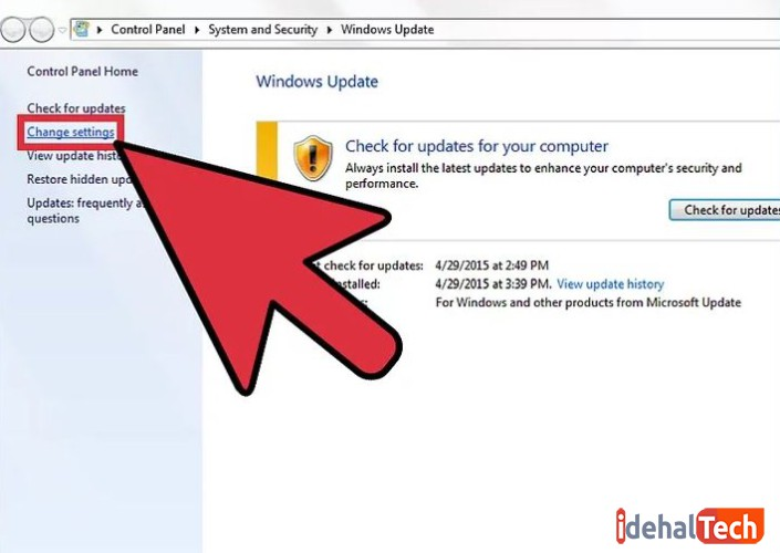 تنظیمات آپدیت ویندوز را تغییر دهید