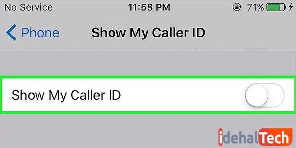 تیک گزینه show my caller id را بردارید