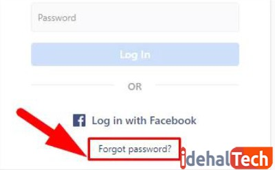 روی فراموشی رمز عبور کلیک کنید