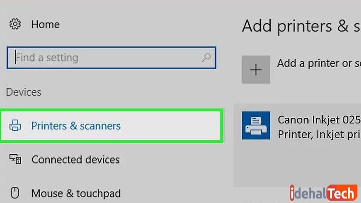 در تنظیمات ویندوز بر روی گزینه افزودن پرینتر و اسکنر کلیک کنید