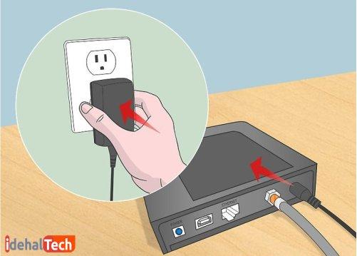 مودم را به برق وصل کنید