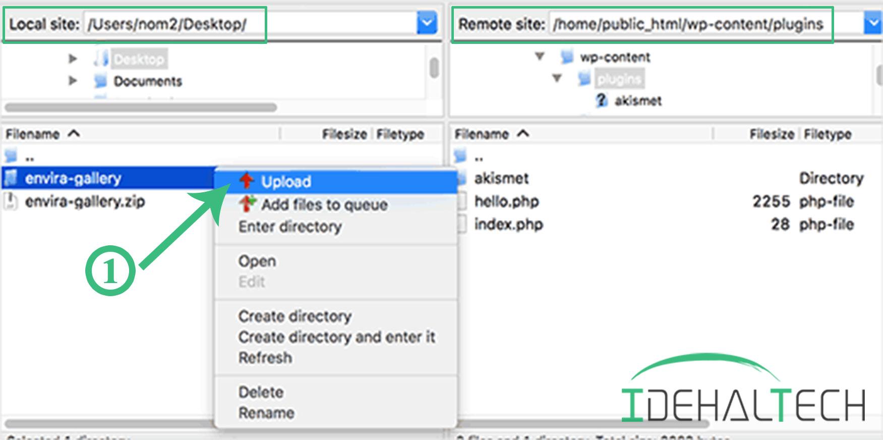 آپلود افزونه از طریق FTP یا File Manager هاست