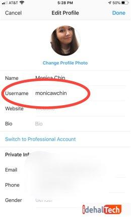 نام کاربری جدید خود را تایپ کنید