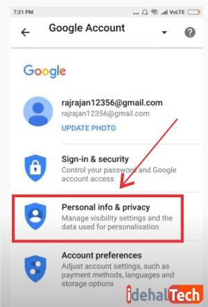 """روی """"Personal info & privacy"""" ضربه بزنید."""