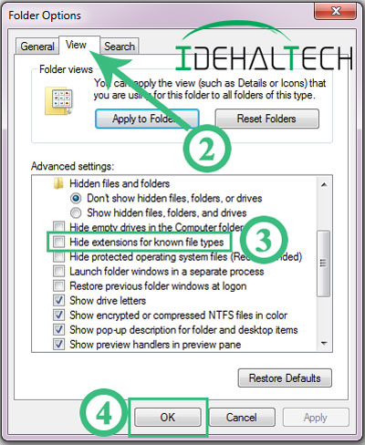 پنجره folder options