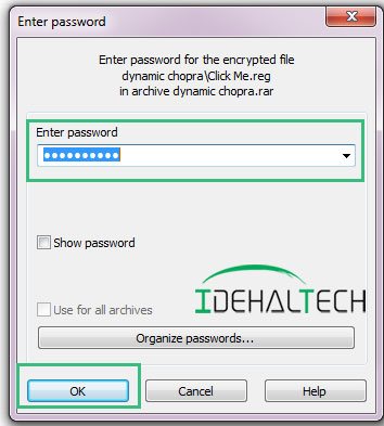 وارد کردن رمز فایل فشرده