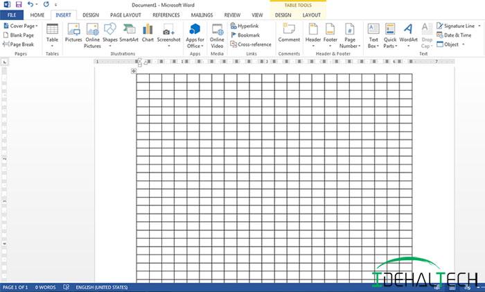 کشیدن جدول به روش Insert Table