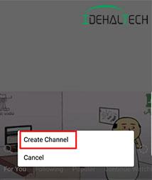 انتخاب گزینه Create Channel