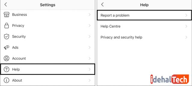 روی report problem ضربه بزنید