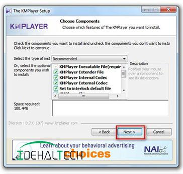 انتخاب تمام گزینه های نرم افزار