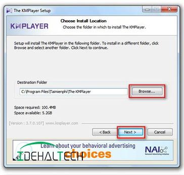 تعیین مسیر نصب نرم افزار