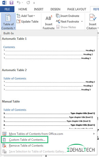 انتخاب گزینه Custom Table of content