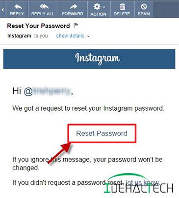 انتخاب دکمه reset password