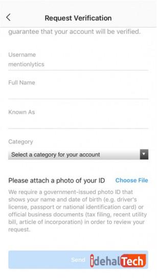 ثبت درخواست برای تیک آبی در اینستاگرام