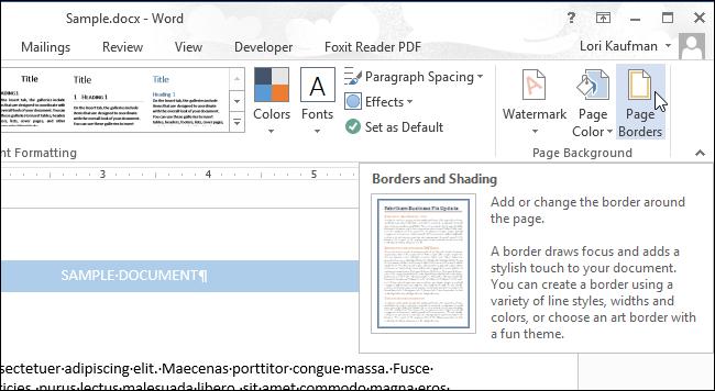 انتخاب ابزار Page Borders