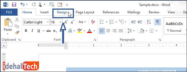ابزار دیزاین در ورد برای ایجاد حاشیه