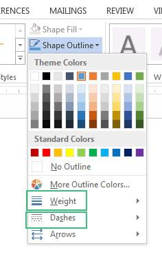 تغییر رنگ و ضخامت خطوط اطراف پیکان