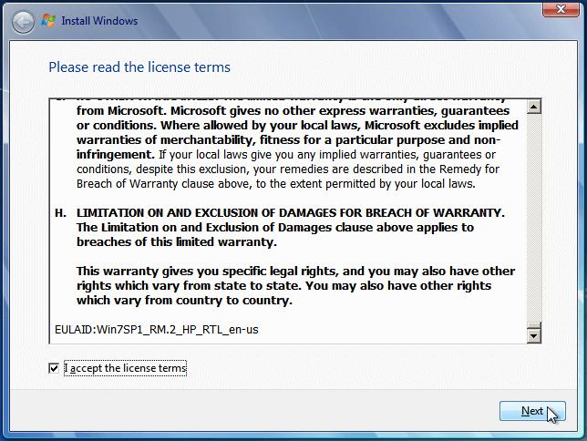 قبول توافق نامه ویندوز