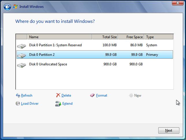 نصب ویندوز روی درایو C