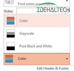 انتخاب پرینت رنگی و سیاه سفید