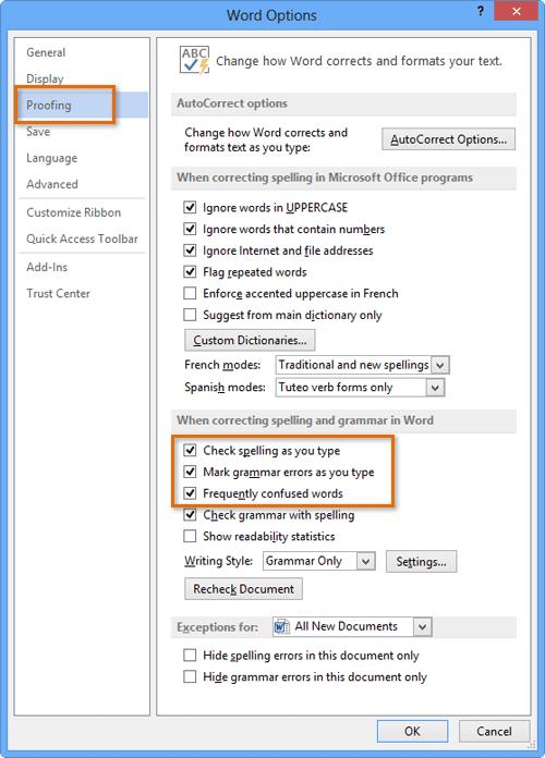 انتخاب پنجره Word Options