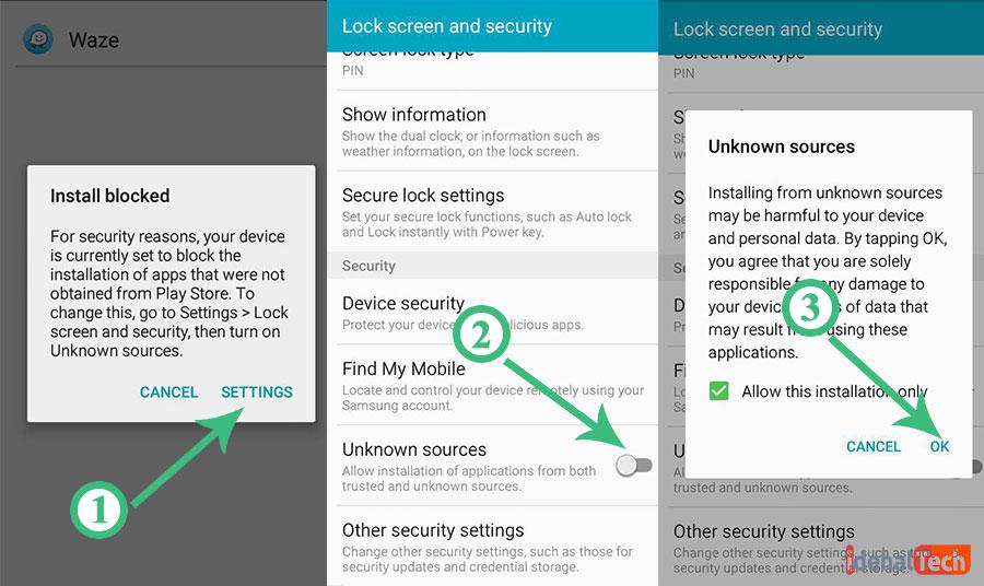 فعالسازی گزینه Unknown sources برای نصب اپلیکیشن