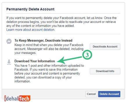 Delete account فیسبوک