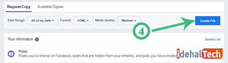 ایجاد فایل پشتیبان فیسبوک