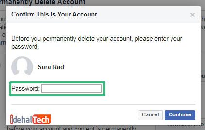 وارد کدن رمز فیسبوک برای پاک کردن اکانت