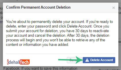 حذف حساب کاربری فیس بوک