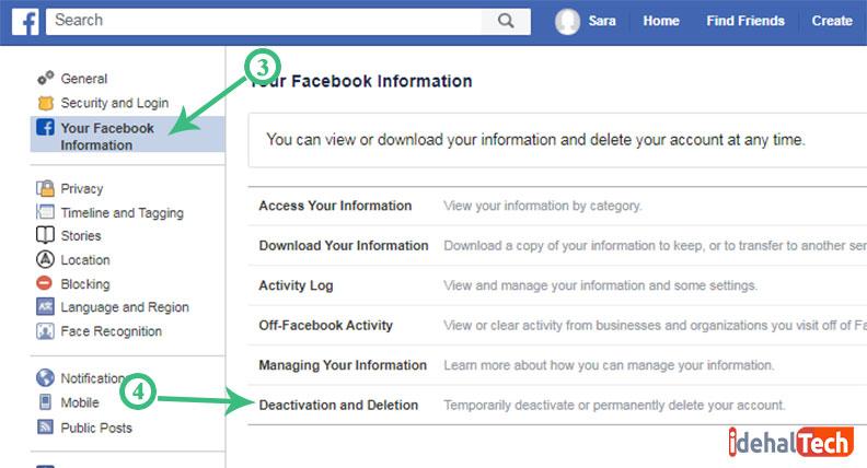 انتخاب گزینه Your Facebook Information