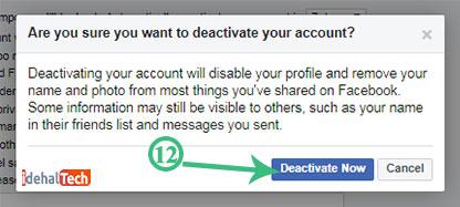 غیرفعال کردن حساب کاربری فیسبوک
