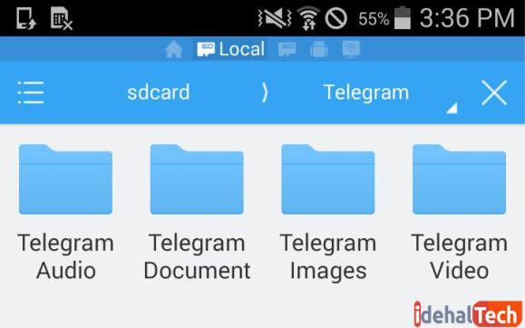 فولدرهای موجود در پوشه تلگرام اندروید