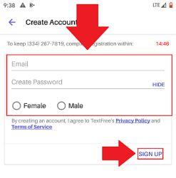 حساب کاربری خود را در text free بسازید