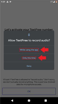 به text free اجازه دسترسی به میکروفون را بدهید