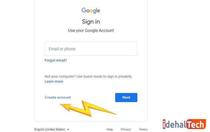 ساخت حساب کاربری در گوگل