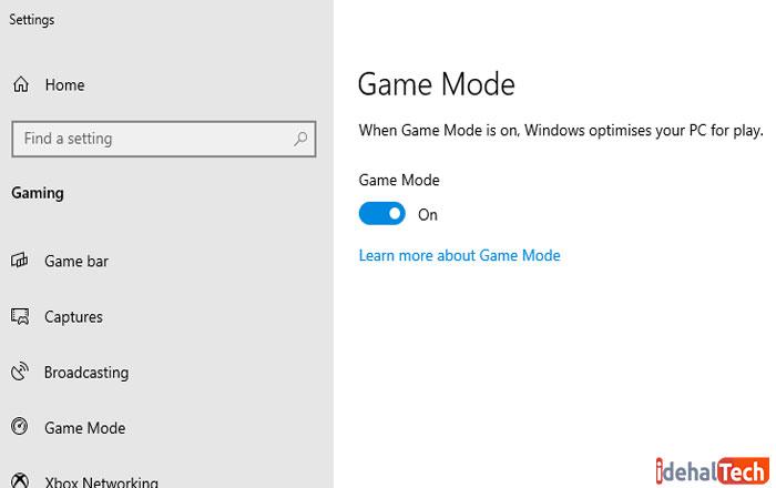بهینه سازی ویندوز 10 با game-mode