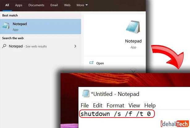 برای-خاموش-کردن-ویندوز،-یک-فایل-Batch-ایجاد-کنید