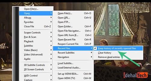 فعال سازی گزینه Keep history of recently opened files