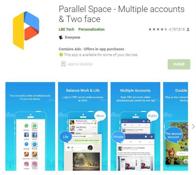 برنامه parallel space