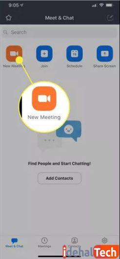 روی start meeting ضربه بزنید