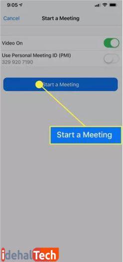 روی گزینه start meeting ضربه بزنید