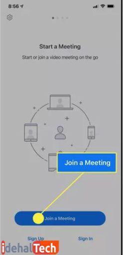 روی join a meeting ضربه بزنید