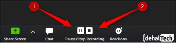 توقف ضبط جلسه در برنامه زوم