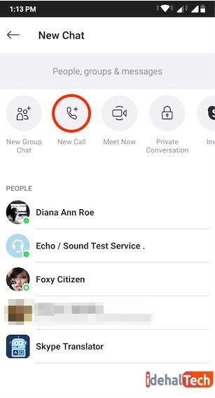 روی دکمه New Call در بالای صفحه ضربه بزنید.