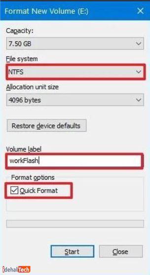 فرمت سریع فلش با فایل اکسپلورر