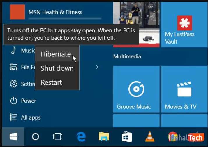 shut down menu ؛ فعال کردن hibernate در ویندوز 10
