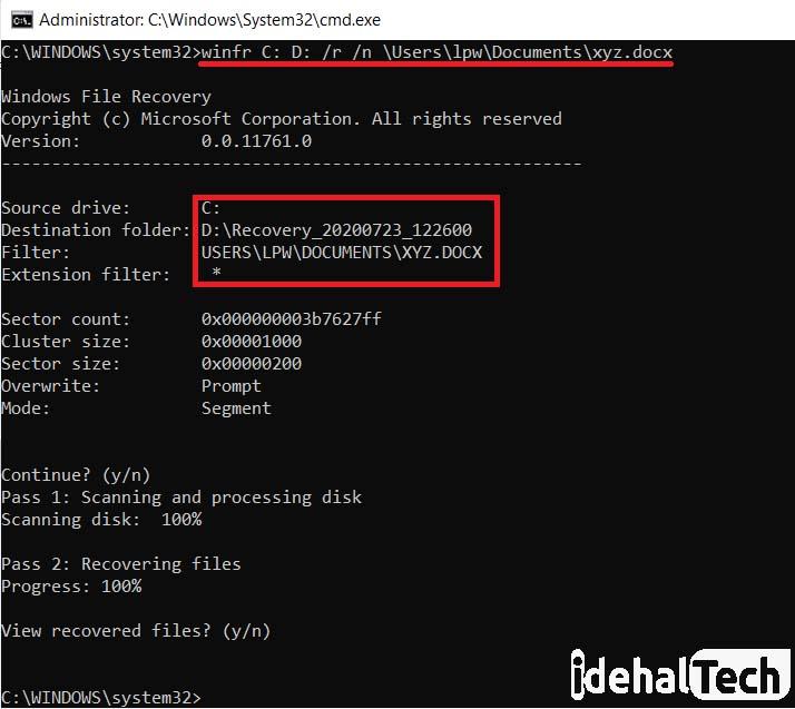ریکاوری با سوئیچ r در ابزار ویندوز فایل ریکاوری ویندوز 10