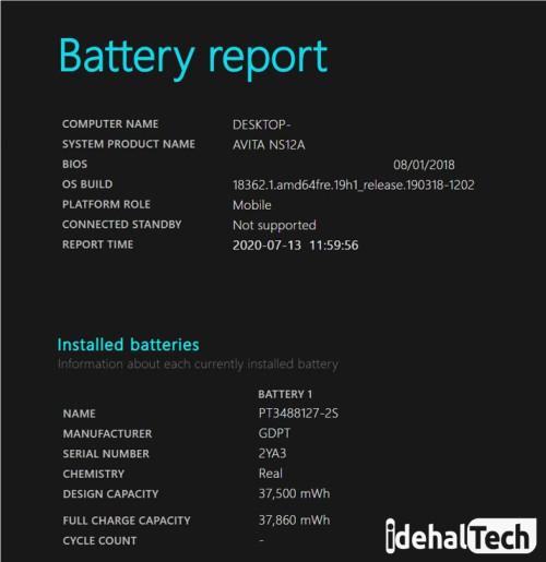 نحوه مشاهده گزارش وضعیت باتری