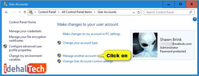 تغییر رمز عبور ویندوز 10 در کنترل پنل